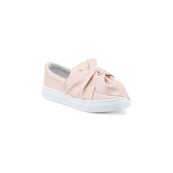 Ruched Bow Slip On Sneakers ($20) ❤ liked on Polyvore featuring shoes, sneakers, round toe sneakers, leather shoes, leather trainers, leather upper shoes and slip-on shoes