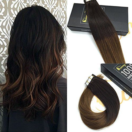 Sunny Remy Seamless Tape Hair Extensions Ombre Dark Brown with Chestnut Brown Hair Extensions Human Hair 22inch 10pcs 25g One Set For Beautiful Hairstyle