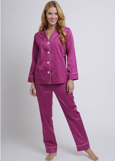 Women's Egyptian Cotton Pajamas- Magenta $178 #cottonpajamas #olist #madeintheusa #bestpajamas #luxurypajamas #pajamas #womenspajamas #egyptiancottonpajamas