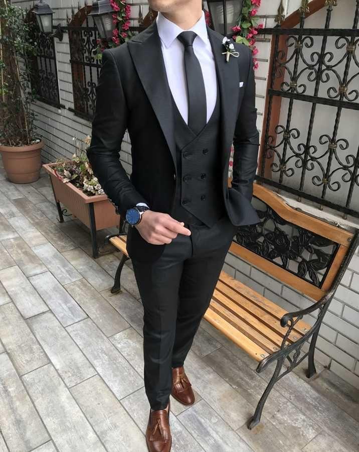 cadad6a253537 Terziademaltun - İtalyan stil slim fit ceket yelek pantolon siyah takım  elbise T3009