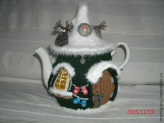 """Купить Грелка на чайник """"Зимой на даче"""" - тёмно-зелёный, грелка на чайник, грелка для чайника"""