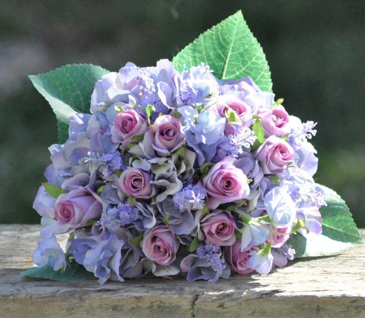 Lavender hydrangea and purple rose wedding bouquet