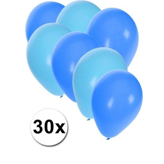 Lichtblauwe en blauwe ballonnen 30 stuks  30 stuks ballonnen in de kleuren lichtblauw en blauw. Van elke kleur 15 ballonnen leuk voor verjaardagen en themafeesten. Formaat is ongeveer 27 cm. Goede kwaliteit.  Dit artikel bestaat uit: 1x Blauwe ballonnen 15 stuks 1x Lichtblauwe ballonnen 15 stuks  EUR 2.99  Meer informatie