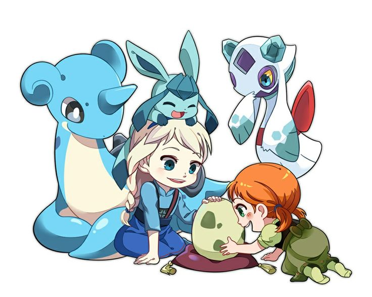 Young elsa and anna with the ice type pokemon Lapras,Glaceon,and Frosslass with a pokemon egg