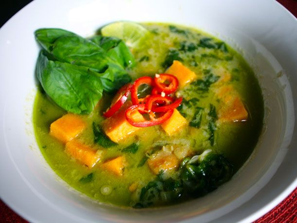 Sweet Potato and Tamarind Curry with Basil and Lime:  this minus the fish sauce (for Meg), and I think we have dinner.