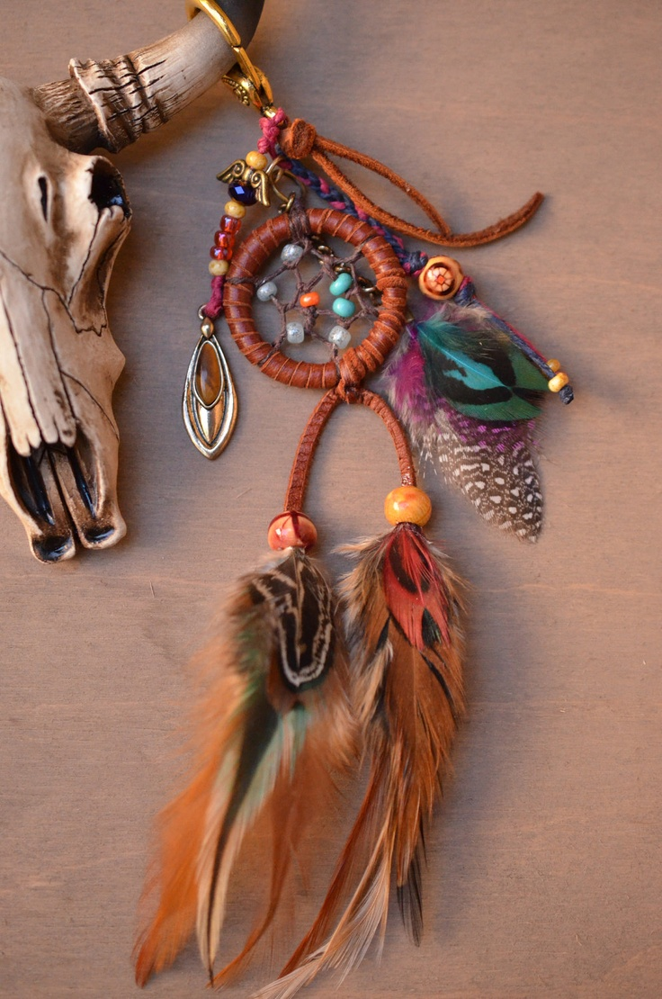 Handwoven Gypsy Dreamcatcher Feather Purse Charm by TurquoiseCrush via etsy