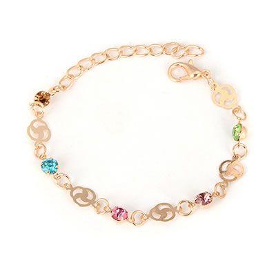 Multi coloured crystal gold bracelet  Code: C08786  Price: R15.00