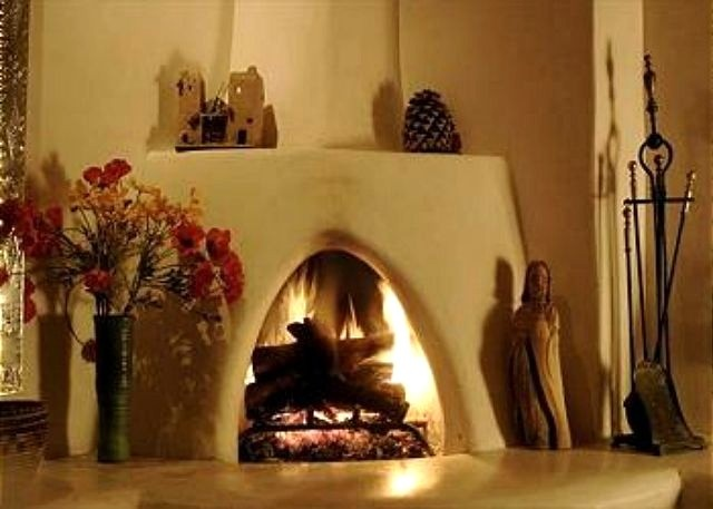 Kiva Fireplace - Casita El Monte  santa fe casita - a casita is a small home, like a separate apartment, for guests or parents to live in, next to the main residence. Many homes in Santa Fe have them.