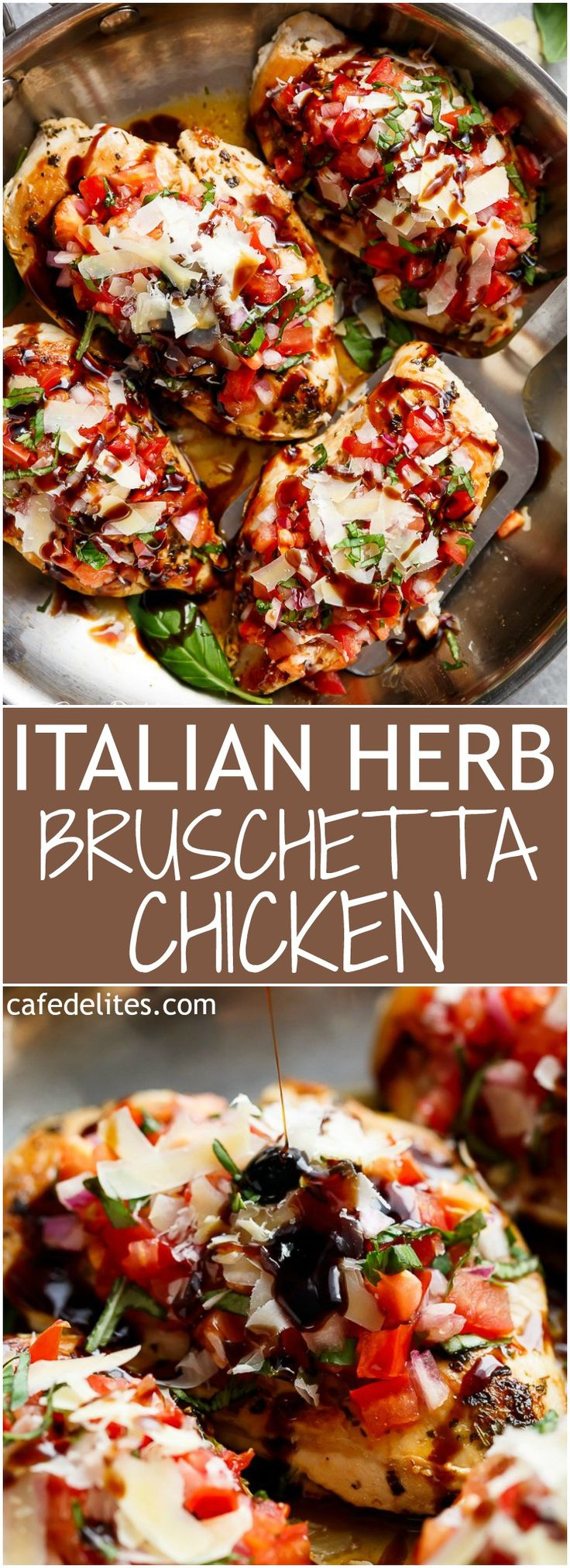 Italian Herb Bruschetta Chicken is a low carb alternative to a traditional Bruschetta! Transform ordinary chicken into a delicious, flavourful meal! | https://cafedelites.com