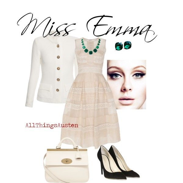 """Miss Emma"" by allthingsausten on Polyvore --  Inspiration: Emma Woodhouse from Jane Austen's ""Emma"". The lightness in the whole of it is inspired by her kind - always wanting to do right by others - attitude, however, I feel that the boldness of the emerald jewelry and the slight severity of the black pumps shows for her can-do, leadership spirit when it comes to her many match-making adventures."