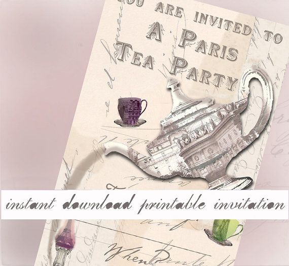 Paris Tea Party  Instant Download Printable Invitation by VelvetRevived on Etsy, $3.00 - Having a French or Paris-themed Tea Party? These invitations could be just what you are looking for! Based on my digital collage sheets, which I designed using vintage postcards of Paris, these invitations are designed to be printed on either your own printer at home or the file may be taken to a print shop to be printed there.