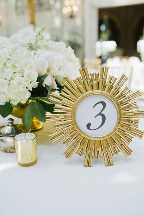Gold framed table numbers: http://www.stylemepretty.com/pennsylvania-weddings/pittsburgh/2015/07/31/classic-romantic-golf-club-wedding/ | Photography: Elizabeth Anne - http://www.elizabethannestudios.com/