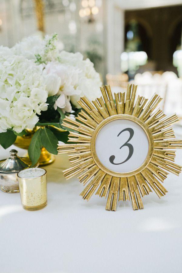 Gold framed table numbers: http://www.stylemepretty.com/pennsylvania-weddings/pittsburgh/2015/07/31/classic-romantic-golf-club-wedding/ | Photography: Elizabeth Anne - http://www.elizabethannestudios.com/