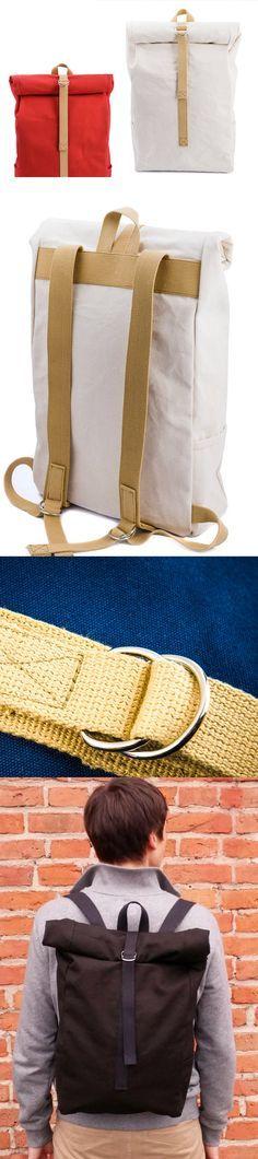 Brown backpack, canvas backpack, laptop backpack, rolltop backpack, bike backpack, best backpack, cotton rucksack