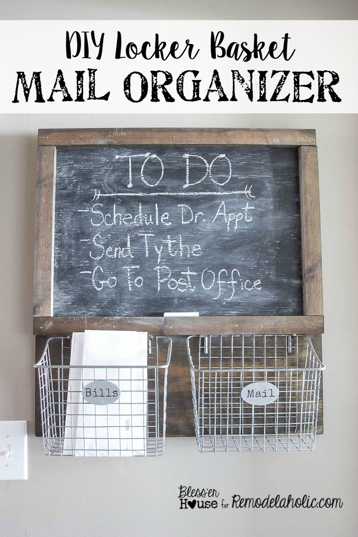 DIY Locker Basket Mail Organizer | Bless'er House - Great way to free up counter space! Mail basket labeled per person in household :) cute
