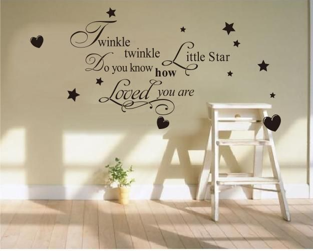 Whimsical Wall Stickers - Twinkle Twinkle Little Star - Black (Decal), $19.95 (http://www.whimsicalwallstickers.com.au/twinkle-twinkle-little-star-black/)   Twinkle Twinkle Little Star Do You Know How Loved You Are.  Available in Black, Pink or Blue  Can be placed on the wall any way you like.