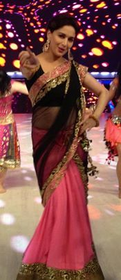 """Pink and Black """"golden"""" border #saree"""