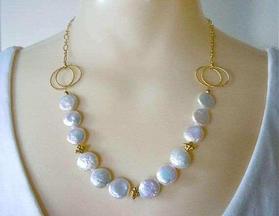 Gold Coin Pearl Necklace