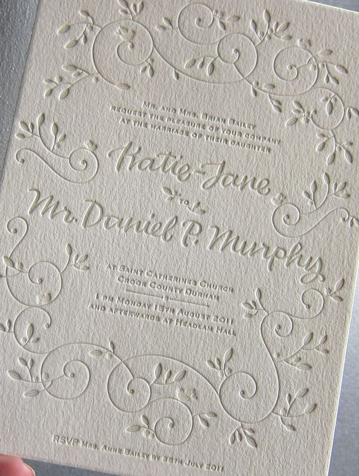 This Letterpress Wedding Invitation From Bella Figura Features The Hendrix  2 Design And Has Reply Information Printed On The Bottomo Of The .