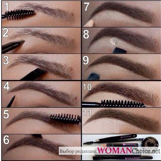 Коррекция бровей макияжем