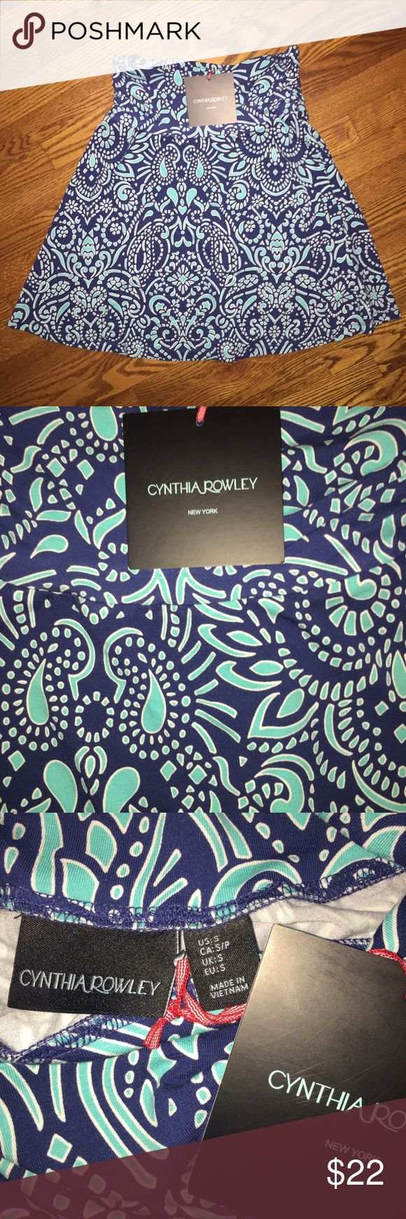 NWT Cynthia Rowley skirt...Size S NWT gorgeous Cynthia Rowley skirt...navy blue with robin's egg blue and white design...Size S in excellent condition from a smoke free home! Cynthia Rowley Skirts