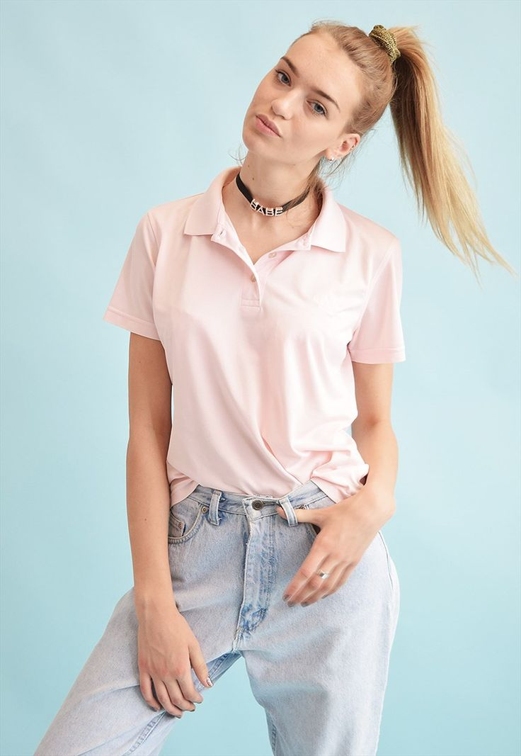Cool vintage 90's retro athleisure sports polo t-shirt tee in pastel pink. Buttons up on collar, great condition. So comfy, so perfect for this season! Size fit