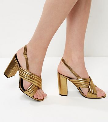 New Look Sale £8 Wide Fit Gold Cross Strap Sling Back Heels