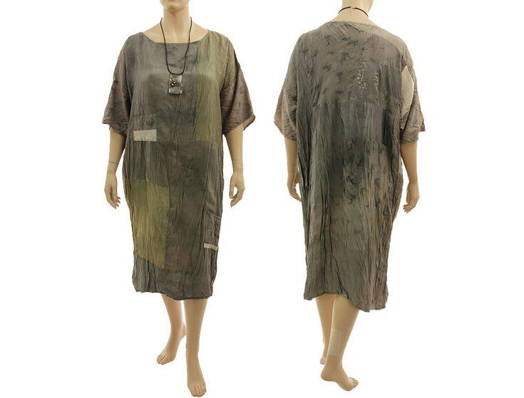 Lagenlook boho patchwork dress, crushed silk in taupe olive L-XXL