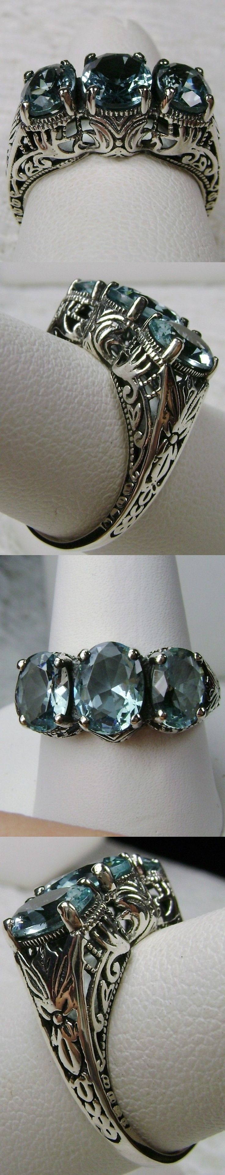 Rings 52603: *Aquamarine* Sterling Silver Filigree Edwardian Victorian Ring [Made To Order} -> BUY IT NOW ONLY: $35 on eBay!