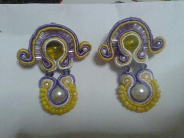 Soutache earrings purple and yellow