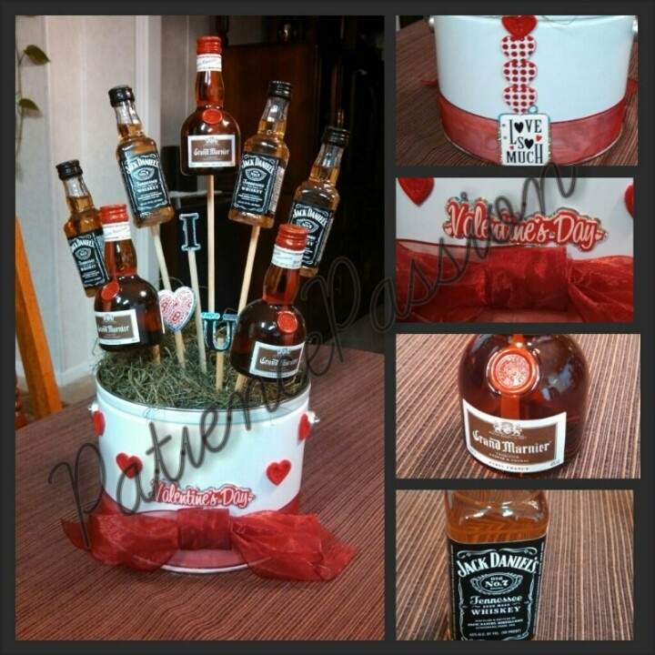 Yes I made my mini bottle bouquet just in time for Valentine's Day. For him.