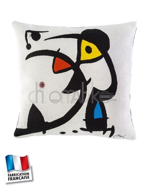 """Coussin Miró """"Deux personnages hantés par un oiseau"""" 1976 - Jules Pansu"""