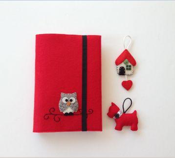 Minik Baykuşlu Kırmızı Kitap Kılıfı