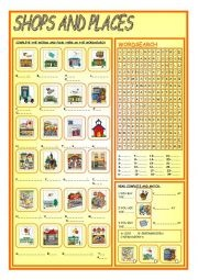 Elementary Level Worksheet Concerning Names Of Twenty Four Shops And Places