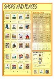 Elementary Level Worksheet Concerning Names Of Twenty Four Shops And Places