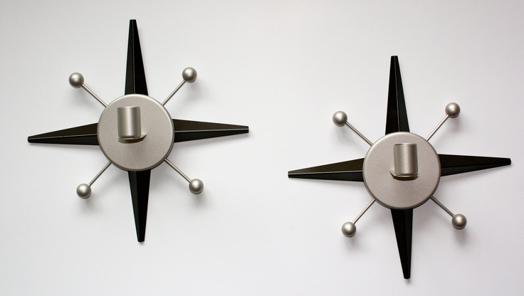 60's Mid Century Atomic Modern Design Metal Candle Wall Sconces Refurbished Rejuvenated.