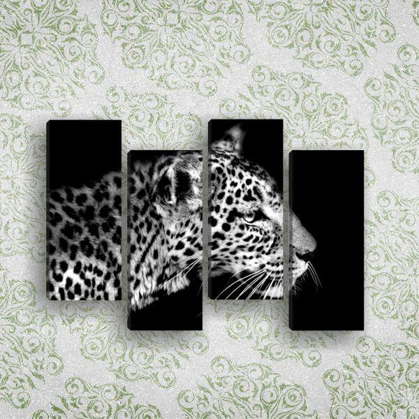Модульная картина леопард черно белое фото 110 х 60 см   Магазин модульных картин