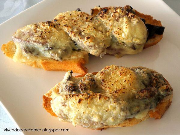 Vivendo para Comer: Bruschetta de funghi com linguiça calabresa