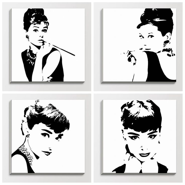 Pop Art Poster Black And White Abstract audrey hepburn black
