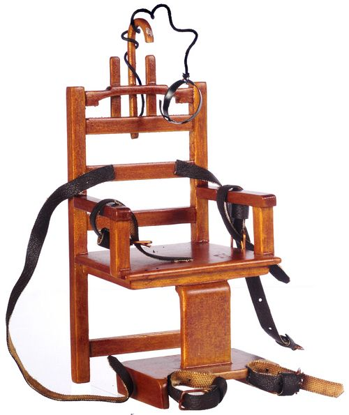 Old Sparky Miniature Electric Chair - Walnut | Mary's Dollhouse Miniatures