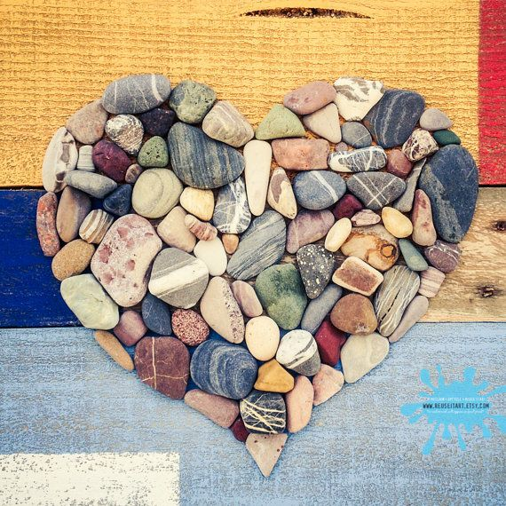 Beach Rocks Heart Upcycled Pallet Art Wall Decor Choose Lustre Fine Art Print or Gallery Wrapped Canvas