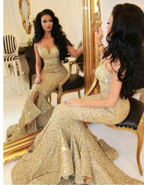 Spaghetti Strap Gold Sequins Lace Mermaid Prom Dress,2016 Evening Dresses,Sweep Train Formal Dresses