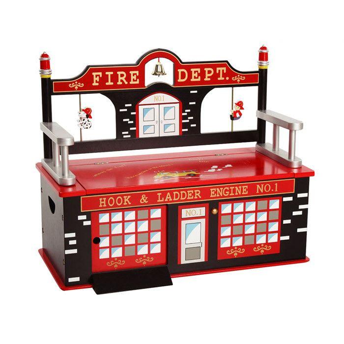 Firefighter Kid's Storage Bench
