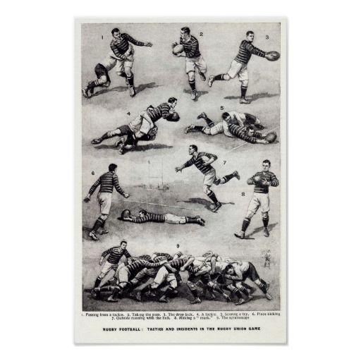 Rugby Football Tactics And Incidents Poster. Vintage descriptions of the rugby game.  One for any rugby lover's wall. http://www.zazzle.com/rugby_football_tactics_and_incidents_poster-228288052550717979 #rugby #vintage #poster #sport