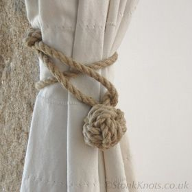 Stonk Knots rope accessories made to order, stair ropes, rope towel rails, rope curtain tie-backs and rope light-pulls.