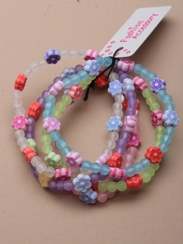 children's frosted bead and daisy bracelet bundle