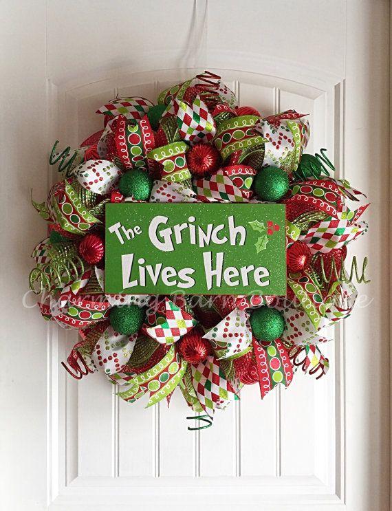 Christmas Wreath Grinch Wreath The Grinch by CharmingBarnBoutique