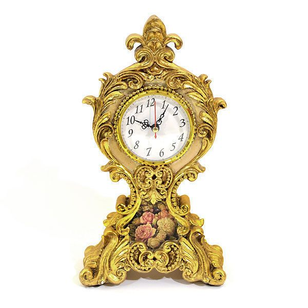 French Rococo Style Small Mantel Clock  Gold Tone Lovely Floral Ornamental,12''H