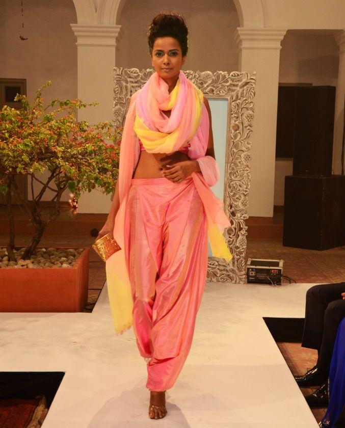 Pink shot-silk bandeau-bra (INR1690) over Turkish pants and triple-shade chiffon boa (INR 3590)