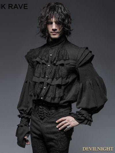Black Gothic Armor Decoration Blouse for Men